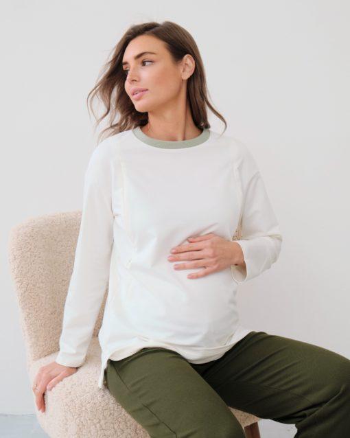 Молочный лонгслив для беременных и кормящих мам Odri