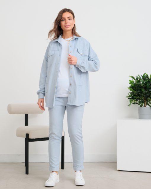 Голубая куртка-рубашка для беременных и кормящих мам Kristy
