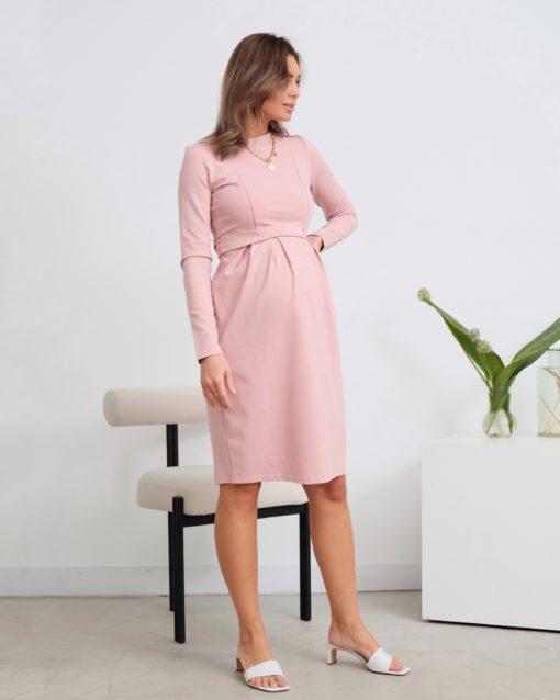 Пудровое платье для беременных и кормящих Amanda