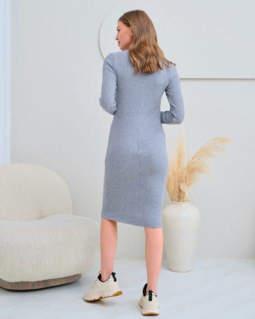 Серое платье для будущих и кормящих мам Marika