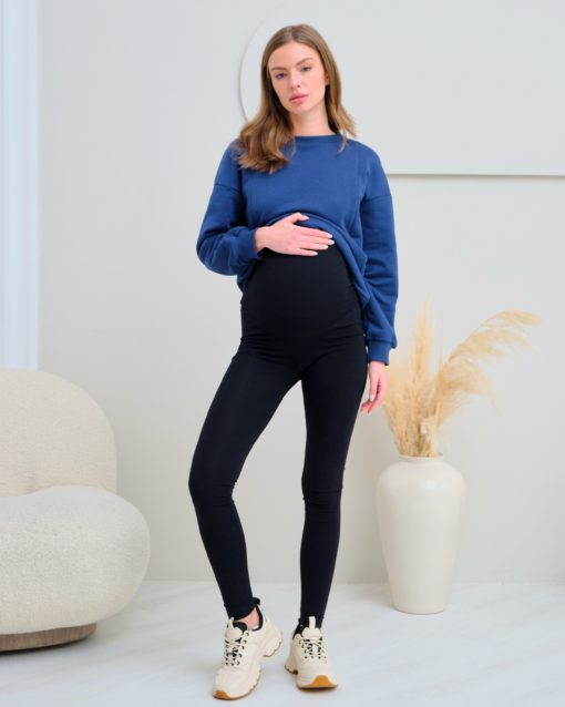 Чёрные теплые леггинсы для беременных Berta