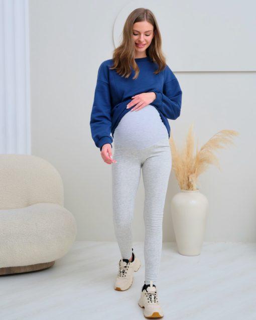 Серые теплые леггинсы для беременных Berta