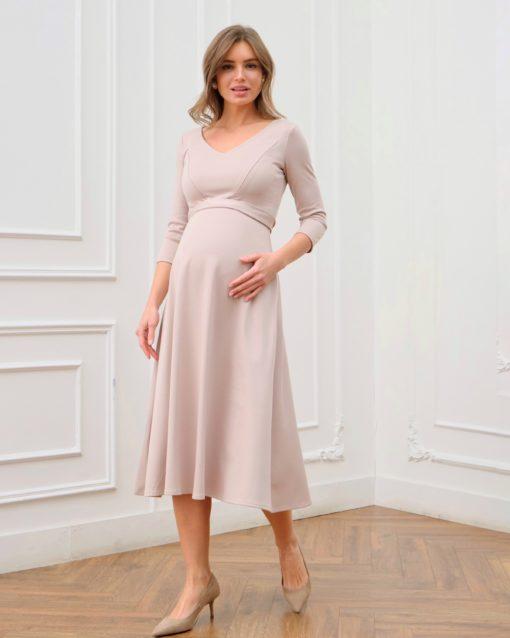 Бежевое платье для будущих и кормящих мам Princess
