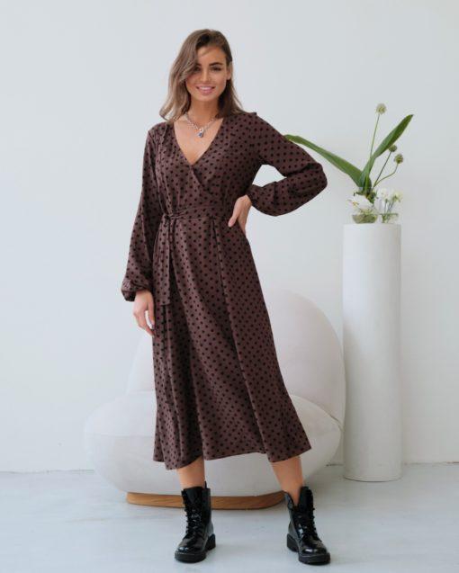 Шоколадное платье в горошек для будущих и кормящих мам Dalia