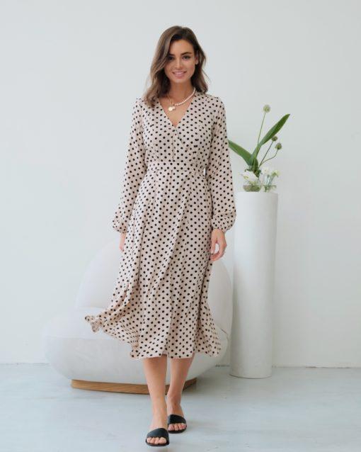 Бежевое платье в горошек для будущих и кормящих мам Dalia