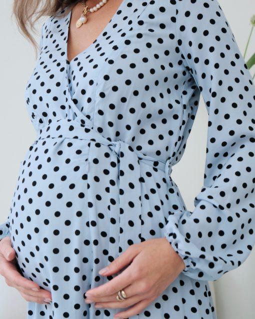Голубое платье в горошек для будущих и кормящих мам Dalia