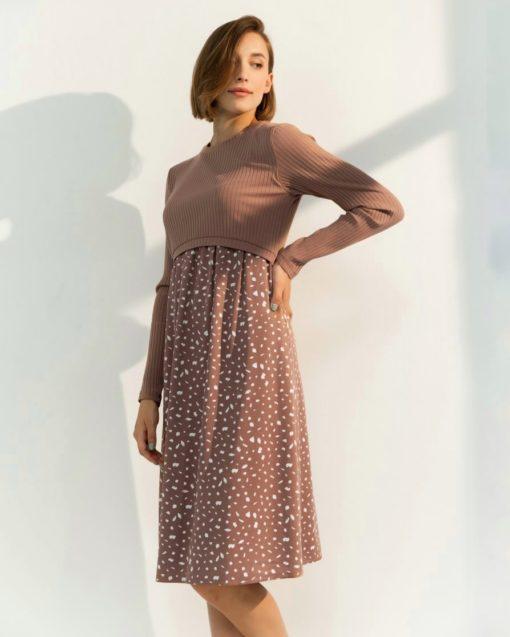 Кофейное платье для будущих и кормящих мам Paula