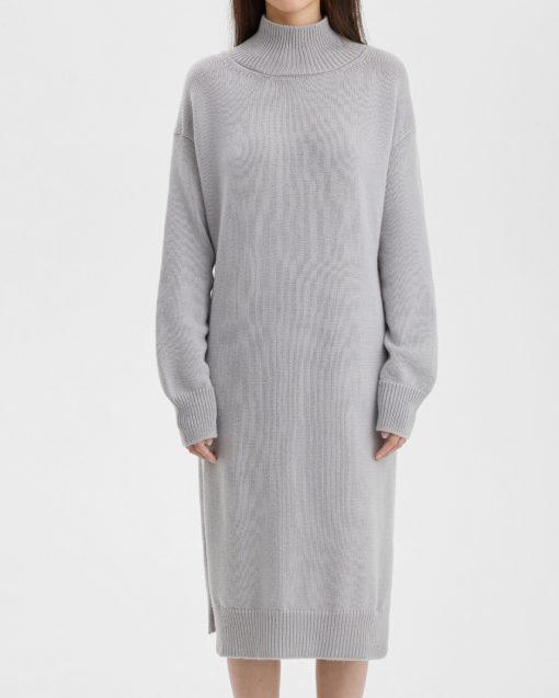 Cерое тёплое платье для будущих мам Oslo