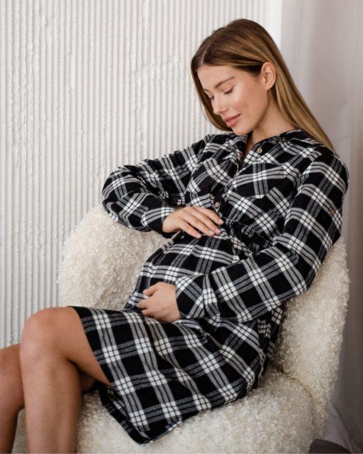 Чёрное платье в клетку для беременных и кормящих мам Elza
