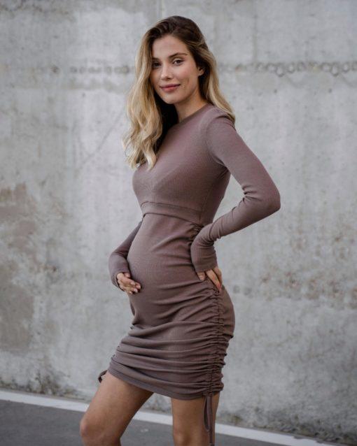 Кофейное платье для будущих и кормящих мам Erin