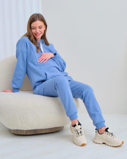 Голубые теплые брюки для будущих и кормящих мам Sport