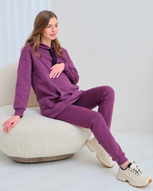 Сливовые теплые брюки для будущих и кормящих мам Sport